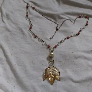 Hand crafted art glass and beaded necklace